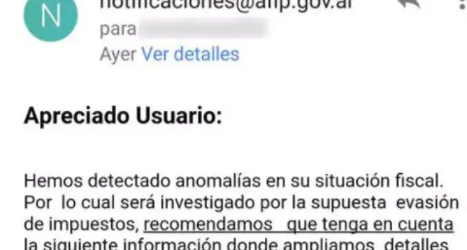 Advierten por correos electrónicos que contienen un falso mensaje sobre evasión de impuestos